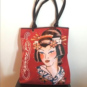 Ed Hardy Red Geisha Tote Bag Christian Audigier